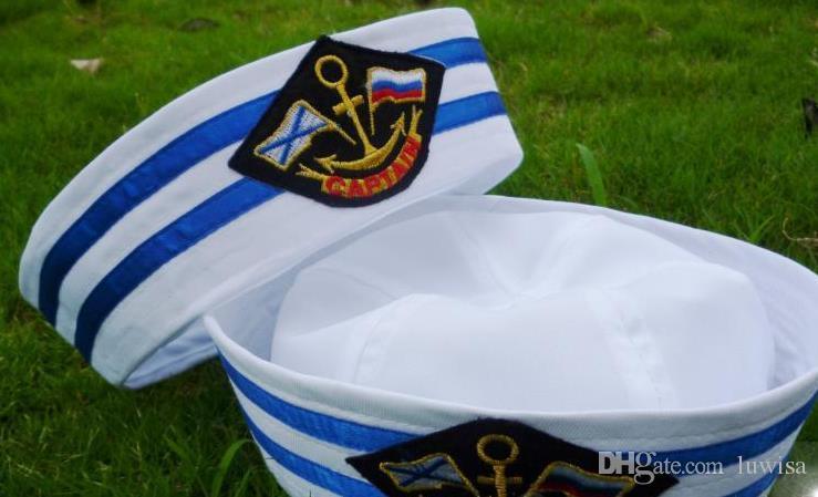 Crianças Algodão Sailor Capitão Chapéu Uniformes Traje Do Partido Cosplay Fase Executar Cap Marinha Âncora Patch Marinha Cap Militar