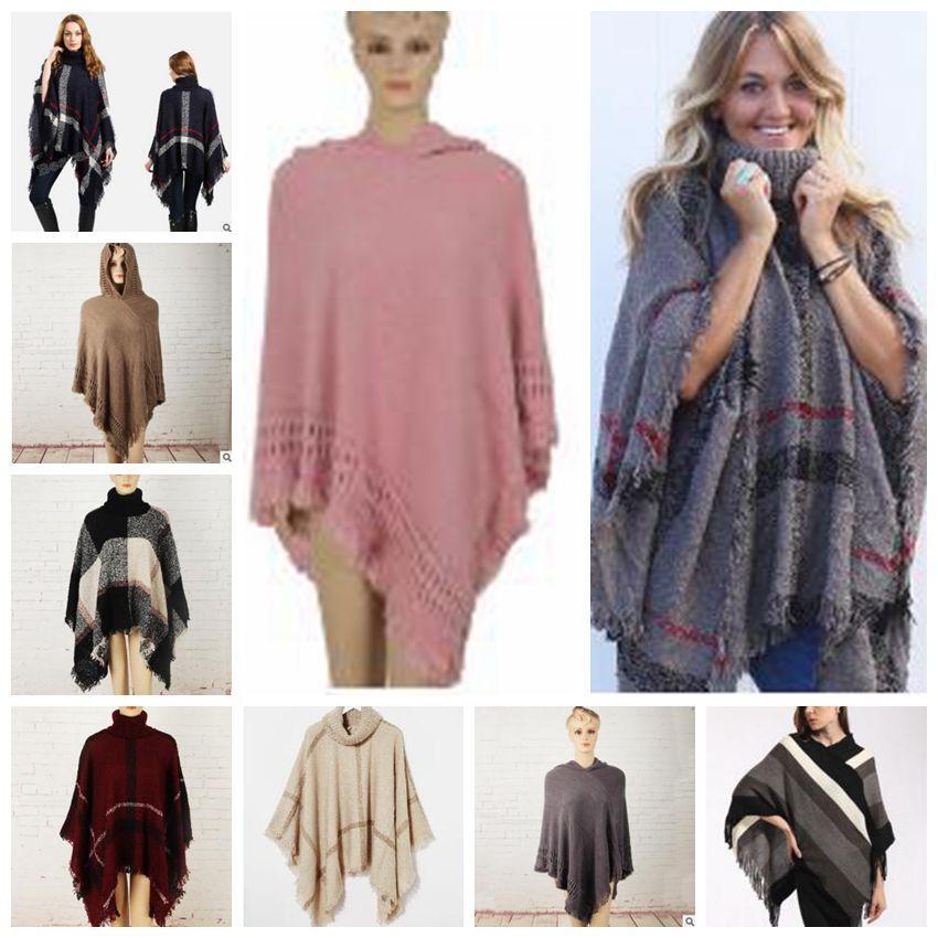 4e7b2ebe8ea258 Großhandel Plaid Poncho Grid Schal Cardigan Quaste Mode Wraps Frauen  Vintage Mantel Mäntel Pullover Stricken Schals Tartan Winter Cape Decken  Geschenke ...