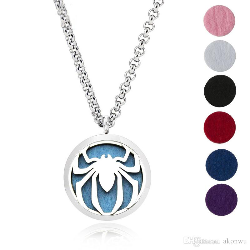 """YB Jewelry 316L Stainless Steel Jewelry, Essential Oil Diffuser Necklace Locket Pendant,with 24"""" Chain and 6 Washable Pads Spider"""