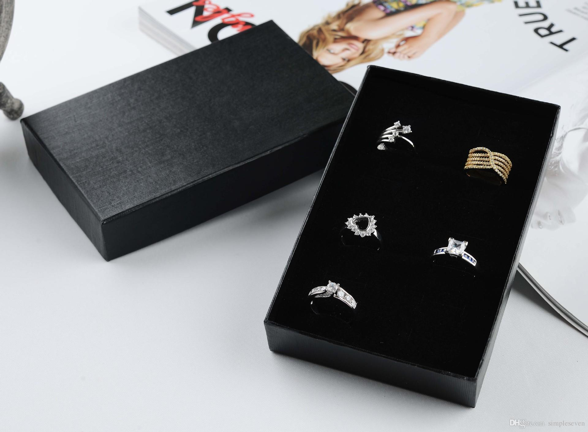 [Simple Seven] Classic Black Specialty Stripe Paper Necklace Box,15*9.5*2.6cm Jewelry Packing,Trend Pedant Package,Gift Rings Carrying Case