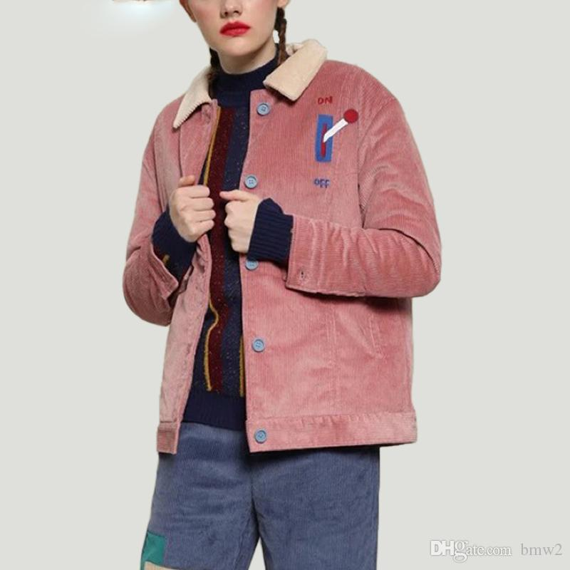 502931eb7a9 Embroidery Women Corduroy Jackets Turn-down Collar Single Breasted Female  Bomber Jacket Fashion Casaco Feminino Online with  60.62 Piece on Bmw2 s  Store ...