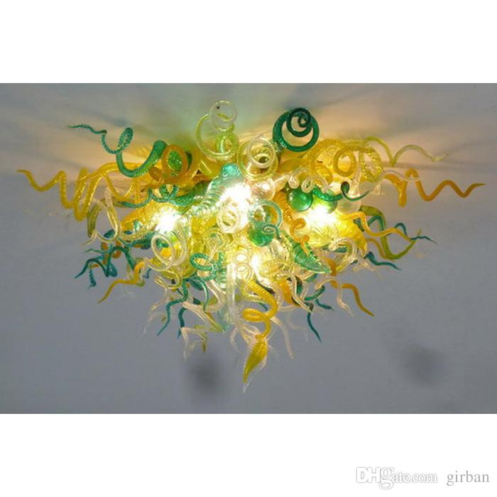 Longree Golden Green Glass Ceiling Lamps glass chandelier lighting lobby lighting chandelier pendant lamp for living room decoration