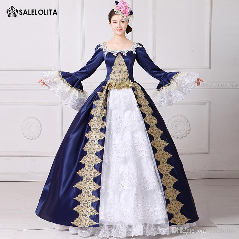 Women's Clothing 18th Century Marie Antoinette Dress Blue Floral Costume Masquerade Gown Theater Clothing