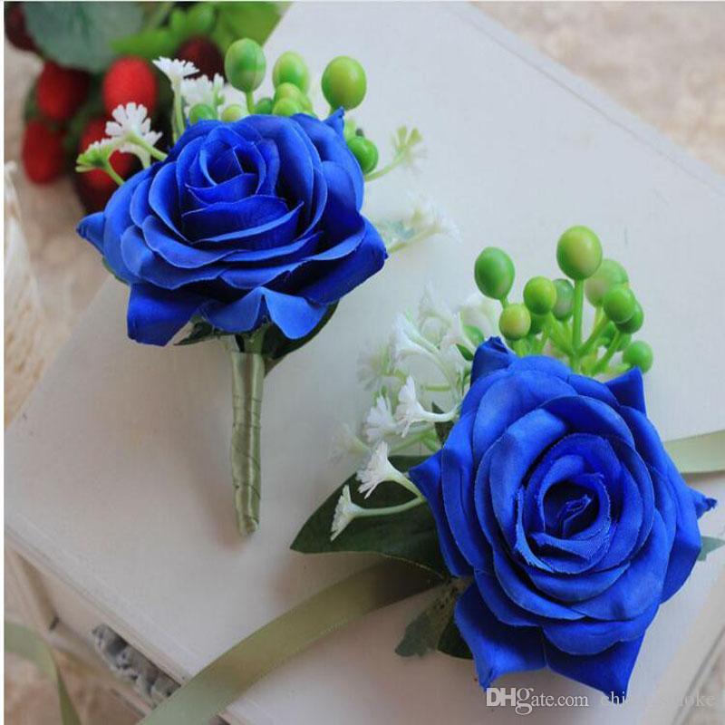 Grosshandel Kunstliche Blumen Brautjungfer Blaue Rose Handgelenk