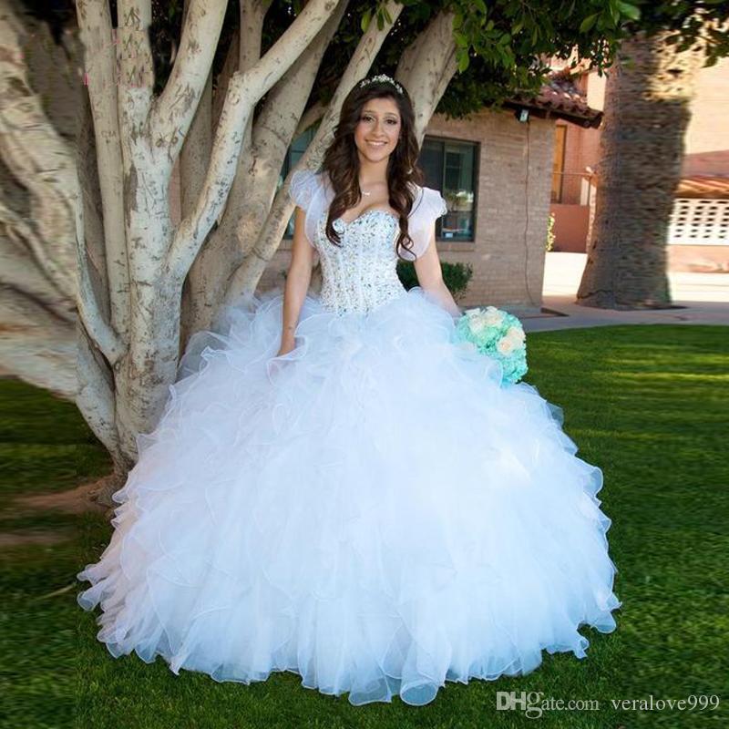 Bling bling sheer neck branco quinceanera vestidos com jaqueta deslumbrante ruffles sweety vestido debutante plus size vestidos vestidos de 15 anos