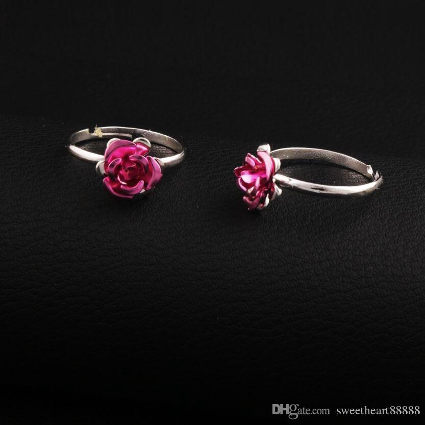 Renkli Küçük Çiçek Yüzük Ayarlanabilir Boyutu 100 adet / grup Taze Bant Yüzükler Takı DIY Yeni R3088 / 98