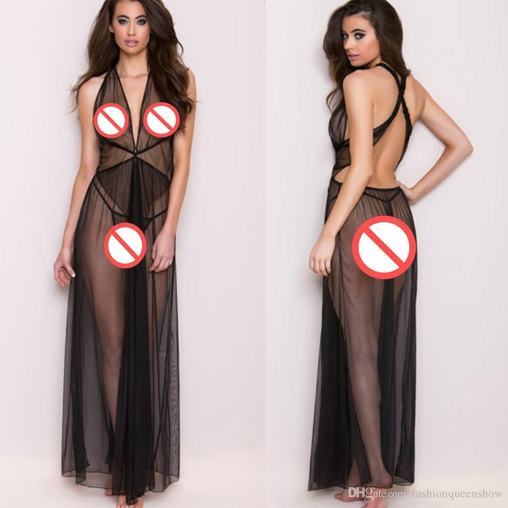Sexy Black Mesh See Through Babydoll Women Backless Nightdress Ankle Length Sleepwear Charming Ladies Long Slips
