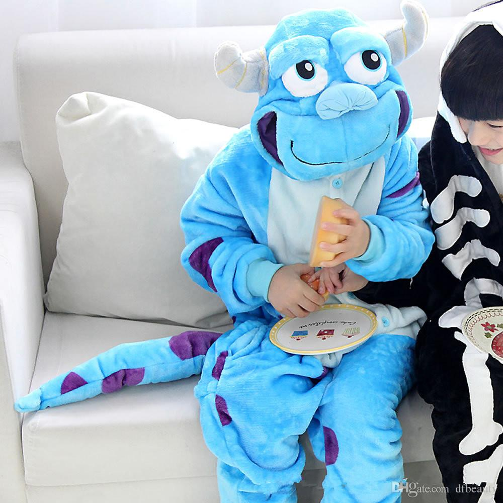 2018 Free Shipping Unisex Sulley Animal Pajamas for Child Anime Cosplay Costume Christmas Sleepwear Kigurumi Pajamas Baby Cartoon Jumpsuits