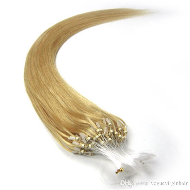 Extensiones de cabello de bucle paquete sedoso recto brasileño micro anillo del cabello enlaces extensiones de cabello