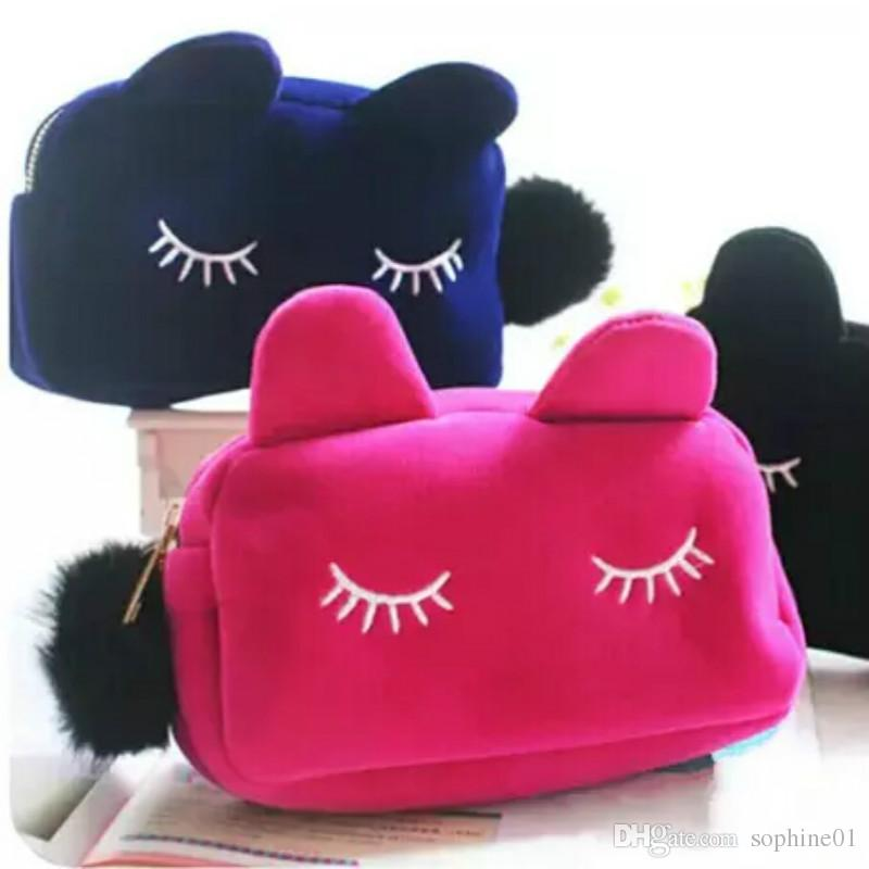 Cute Portable Cartoon Cat Storage Case Travel Makeup Flannel Pouch Cosmetic  Bag Korean And Japan Style Cute Cosmetic Bags Cartoon Makeup Bags Cosmetic  Bag ...