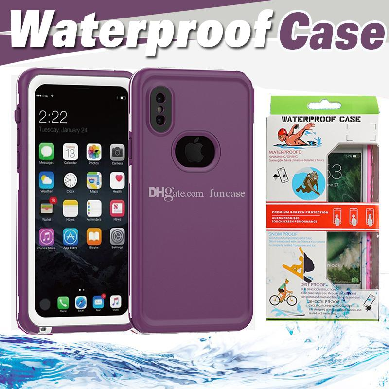 official photos 1bcf5 65b77 For iPhone X Waterproof Full Cover Protective Case For iPhone 8 7 Plus 6 6S  Samsung S8 Swimming Water Proof Cover With Retail Box