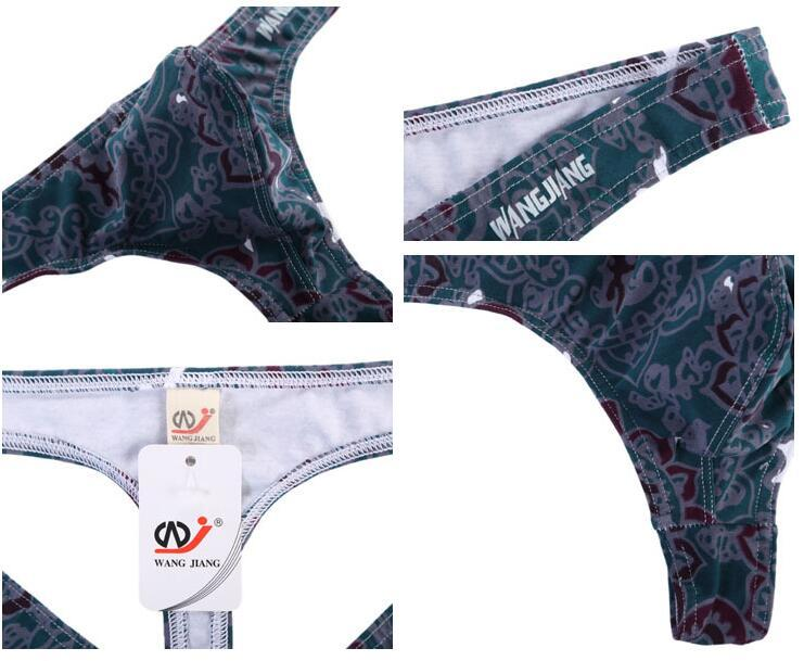 Men's sexy underwear cotton Rose flower printed G-strings &thongs top popular classic design thongs for gay men