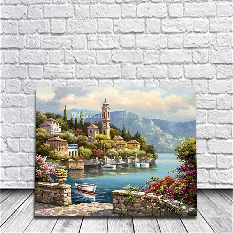 Gerahmtes Warmes Meer Diy Malen Nach Zahlen Zeichnung Von Malerei Kits Malerei Handbemalt Auf Leinwand Für Home Wall Art Bild Poster