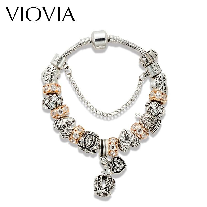 VIOVIA New Top Quality Crown Charm Bracelet Glod Color Crystal Beads fit Pan Bracelets & Bangles For Women Jewelry B15325