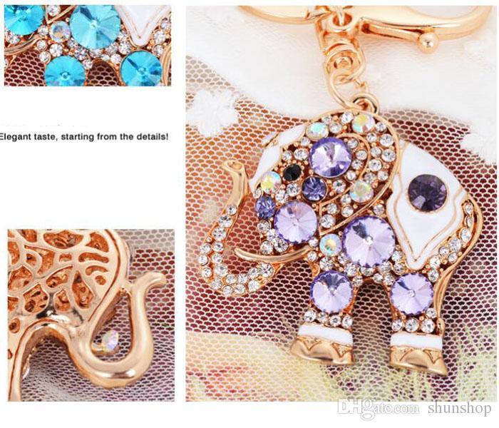 بلينغ بلينغ الكريستال حجر الراين لطيف الفيل المعادن سلسلة المفاتيح حلقة مفاتيح السيارة سلاسل المفاتيح محفظة سحر قلادة اليد أفضل هدية