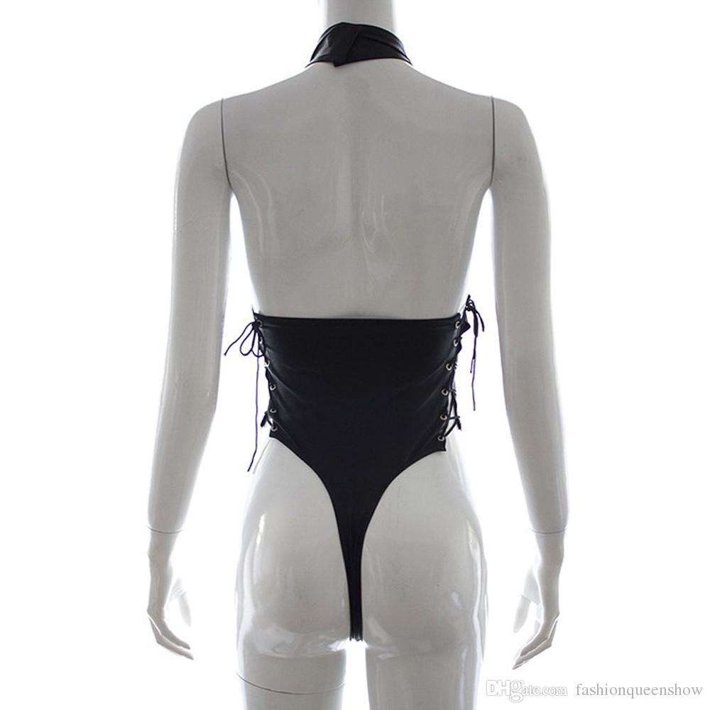 Black Lace-up Teddy Hot Sexy justaucorps femmes Backless Halter Bodysuit Racy Lingerie Boîte de nuit Décapant costume de danse