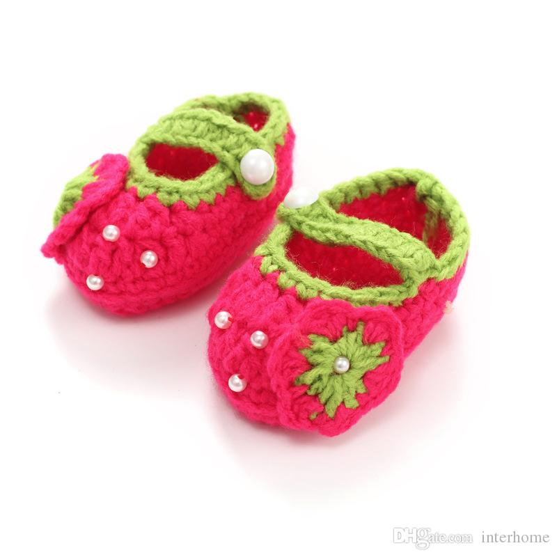 Baby Crochet Bootie Toddlers Handmade Booties Infant Manual Shoes Hand-Crocheted First Walker Shoes Baby Shoes Knitting Princess Shoe D488