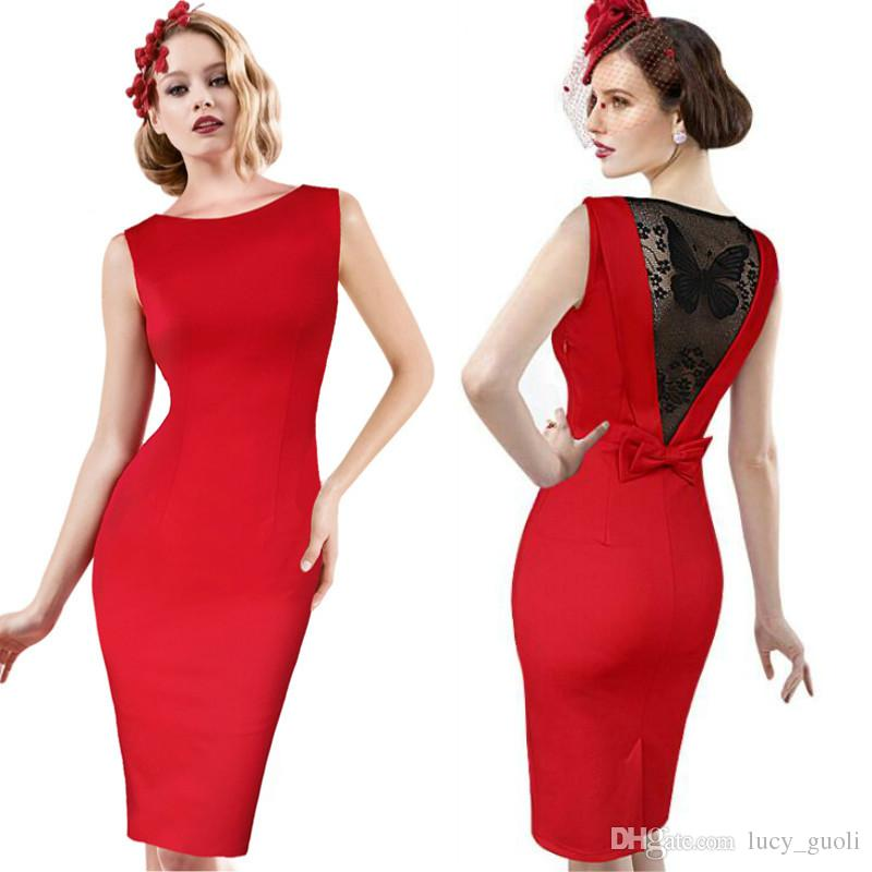 Women Sexy Elegant See Through Back Bow Butterfly Lace Party Evening  Special Occasion Pencil Vestidos Office Bodycon Dress Plus Size S XXXL Maxi  Dress Red ... db612913838d