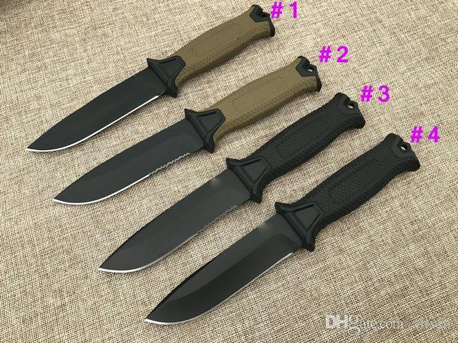 GB G1500 Survival faca reta 12C27 Black Titanium Revestido Ponto de gota lâmina Outdoor Camping Caminhadas Caça tático facas com Kydex