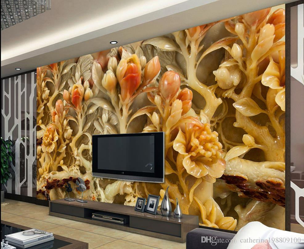 photo any size chinese wind flowers and wealthy jade carvings tv photo any size chinese wind flowers and wealthy jade carvings tv background wall mural 3d wallpaper 3d wall papers for tv backdrop kareena kapoor wallpapers