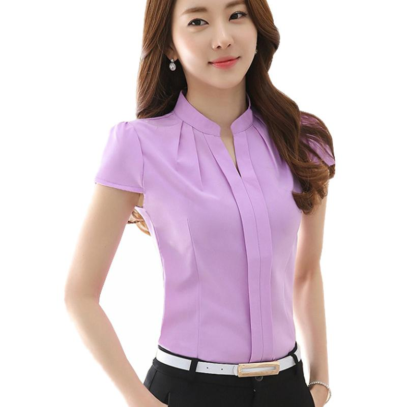High Quality New Fashion Summer Blusas Women Clothing Blouses Work Wear Tops Short Sleeve Shirt Office Blouse Plus Size