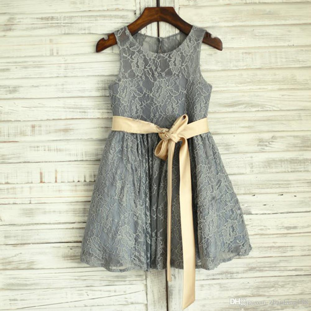 218b9a0934d Grey Lace Flower Girl Dress With Gold Belt A Line Lace Grey Little Flower  Girls Dresses For Wedding Sale Flower Girl Dresses Sashes For Flower Girl  Dresses ...
