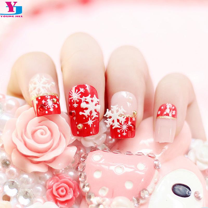 Wholesale Beauty Fake Nails With Christmas Snow Designs 3d Strass