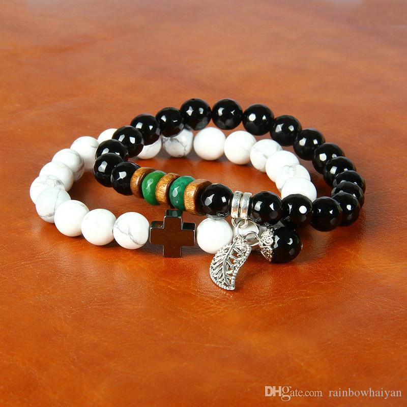 Wholesale Couples Jewelry Fruit Silver Leaf With 8mm Faceted Black Onyx & White Howlite Marble Stone Beads Lovers Bracelets