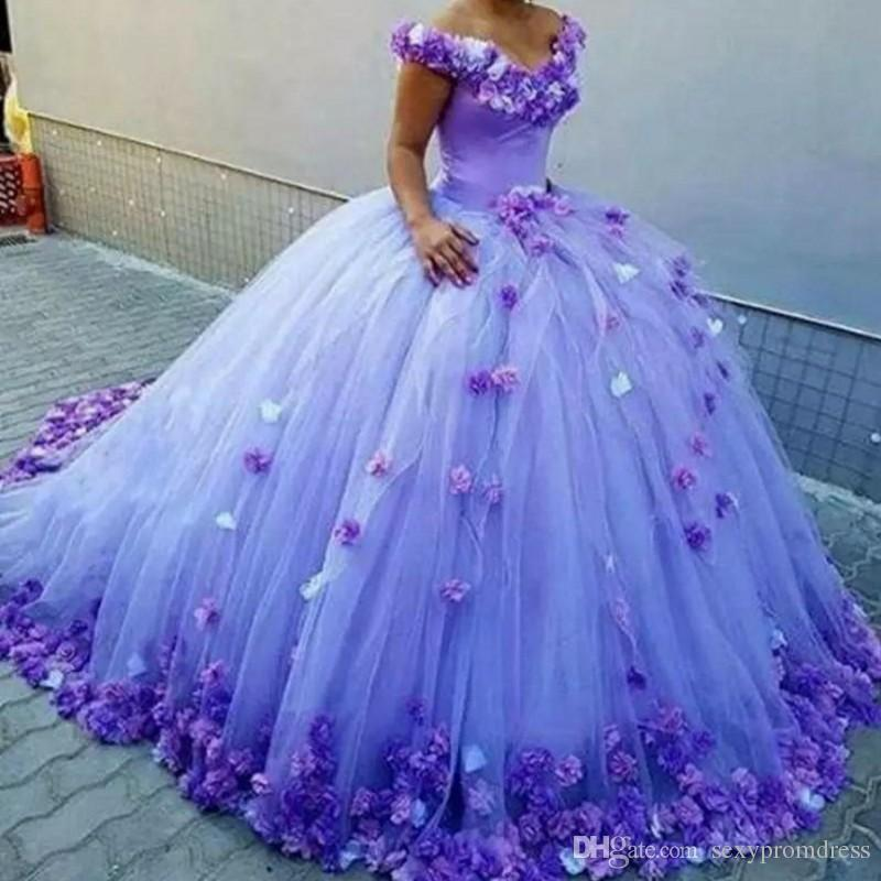 Amazing Lavender 3d Floral Appliques Wedding Dresses 2018 Off The ...