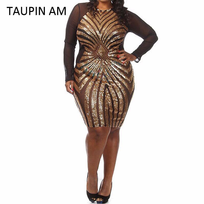 2018 Wholesale Taupin Am Plus Size Gold Sequin Dress Black Long