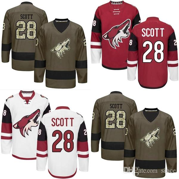 17ddbc51c82 2019 Factory Outlet Mens New Cheap Phoenix Coyotes 28 John Scott Ice Hockey  Jersey HOME RED