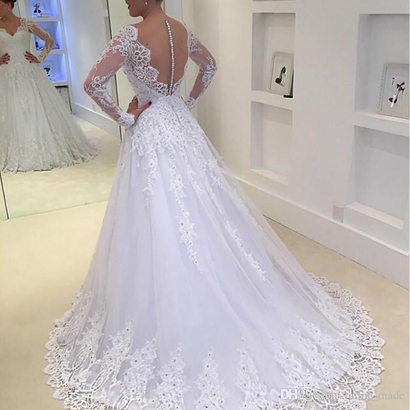 Abiti da sposa semplici a maniche lunghe Vestido Branco Longo 2019 Scollo a V Sheer Back A Line Wedding Gown