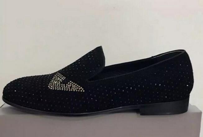 2020 мужчины с низким верхом повседневная обувь мужская кожаная причинная обувь горный хрусталь шпильки мокасины толстый каблук мужской блеск мокасины