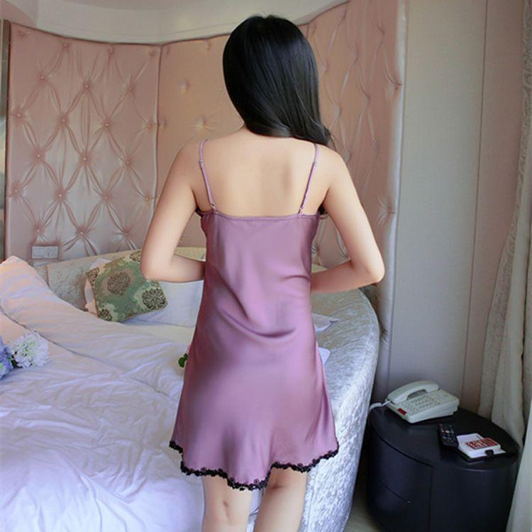 Women Sexy Silk Satin Nightgown Sleeveless Nighties V-neck Night Gown Summer Sleep Dress Embroidery Night Wear Soft Sleep Wear