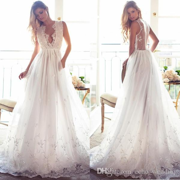 Discount 2017 Bohemian Lace Wedding Dresses Country Plus Size Deep V ...