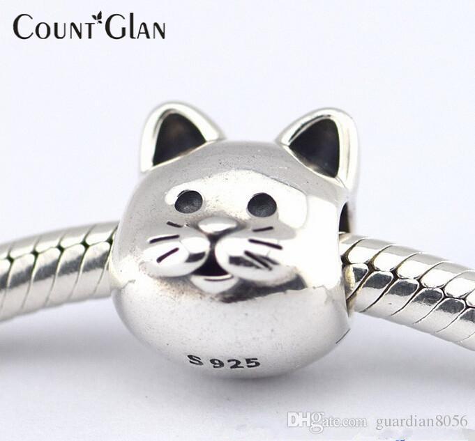 Serve para pandora pulseira colar cat grânulos de prata novo original 925 encantos de prata esterlina diy atacado