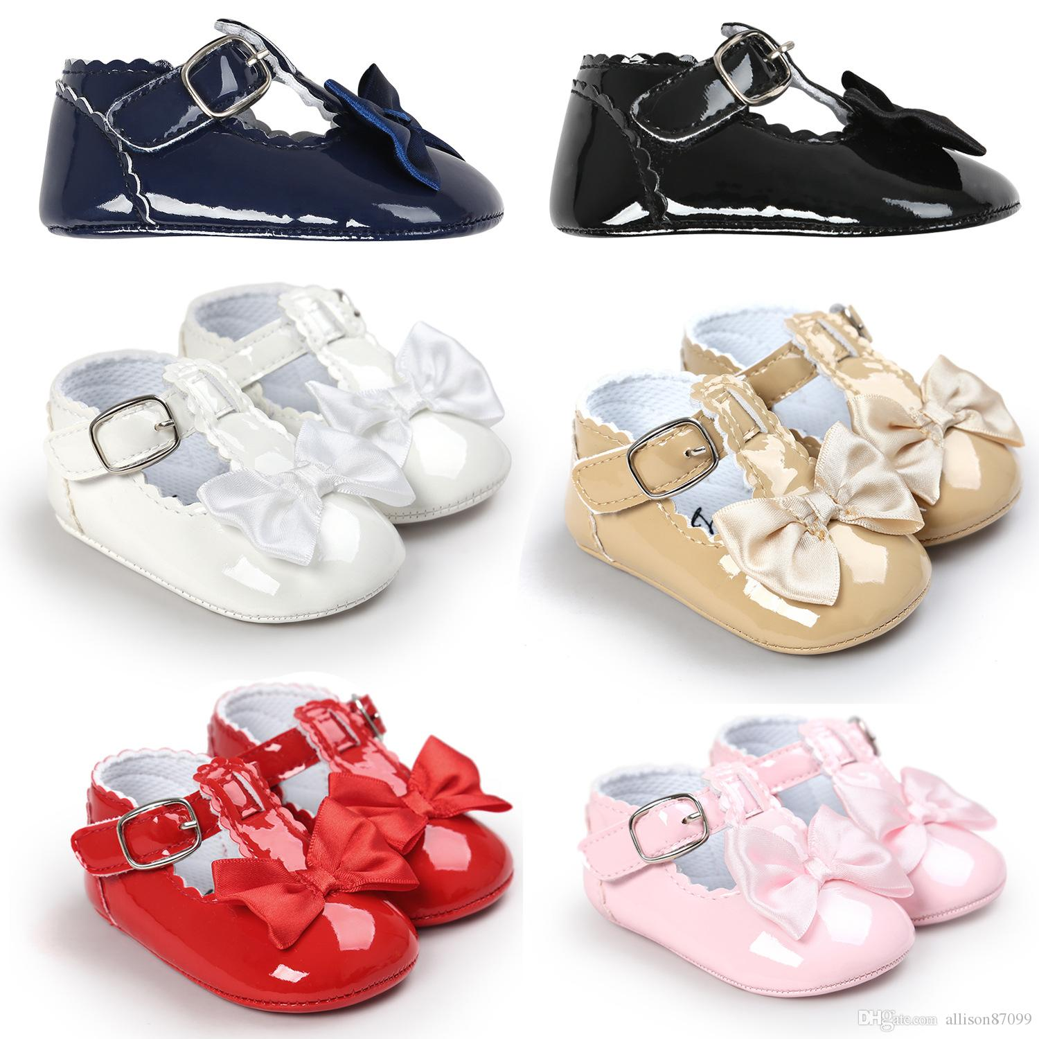 98c47cd2e25fd 2019 Baby Girl Shoes Bows Princess Party Shoes Infants Birthday Shoes  Patent Leather Buckle Baby First Walkers 2017 Spring New DHL FREE From  Allison87099