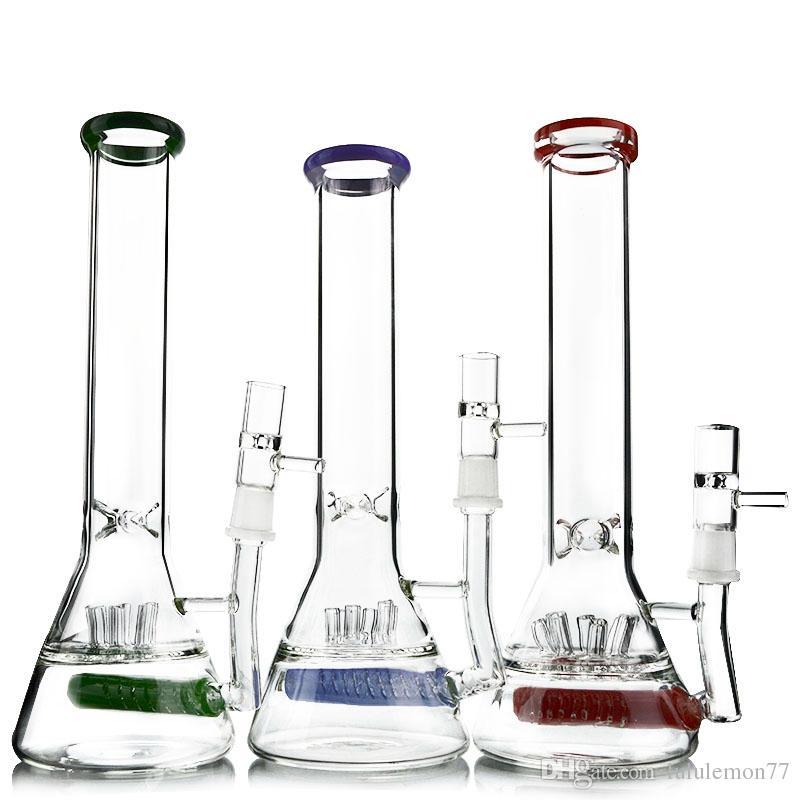 2017 Científico de Vidrio con Tazón Rociador En Línea Perc Rigs Aceite Dab Vaso de Vaso Base de Pellizco de Vidrio Bongs WP478