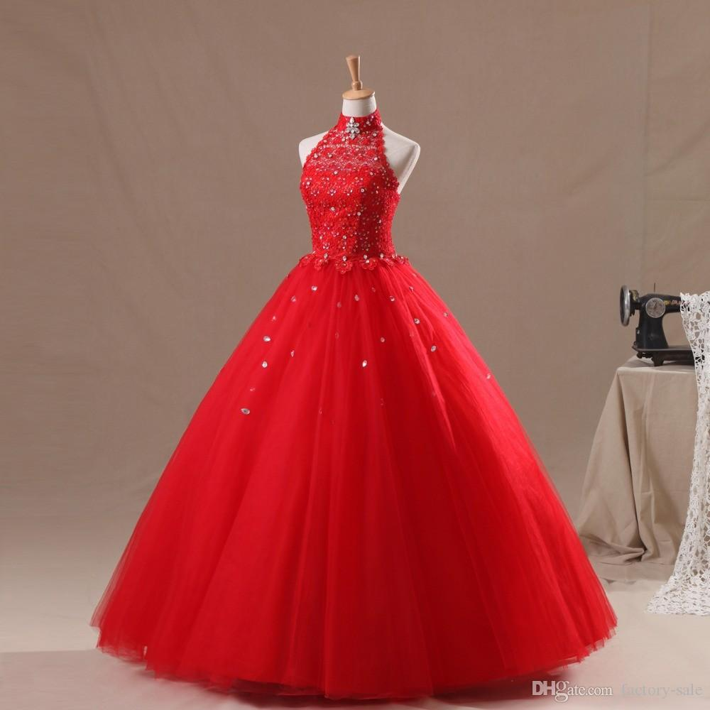 Crystals High Neck Ball Gown Red Quinceanera Dresses 2017