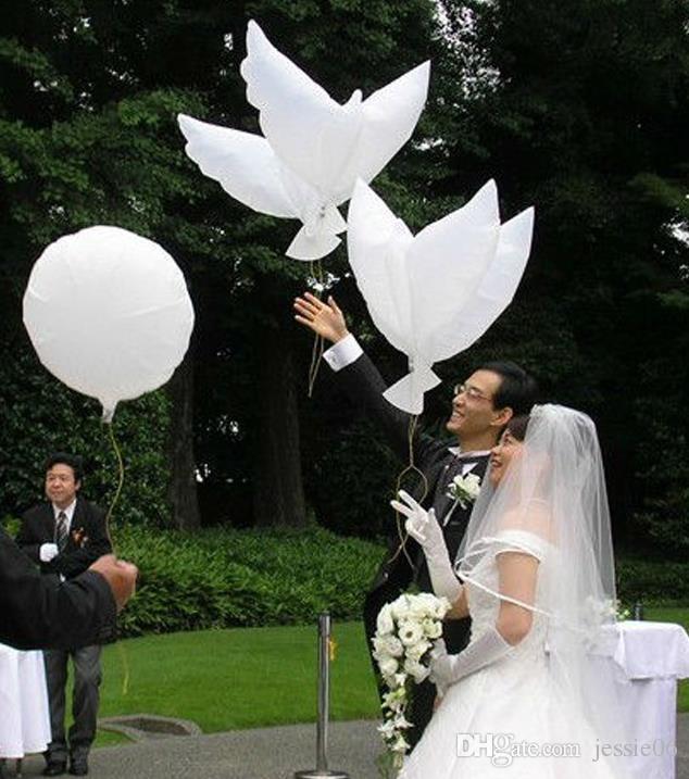 Bröllop Vit Dove Helium Ballonger Dop Party Funeral Memorial Ceremony Födelsedag Evenemang Entré Inredning Biologisk nedbrytbar tjänst