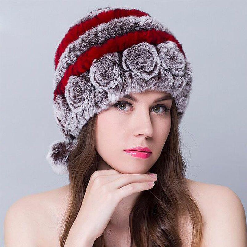 33cde6f45c6 Wholesale Autumn Winter Lady Fur Cap Real Rex Rabbit Fur Hat Headgear  Headdress Women Warmer Skullies Wholesale Hoodies Beanies From Jutie