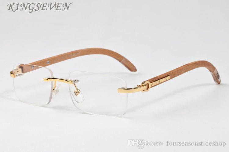 2020 new arrival fashioin sunglasses buffalo horn glasses for women wood sunglasses rimless black clear rectangular mirror lens sun glasses