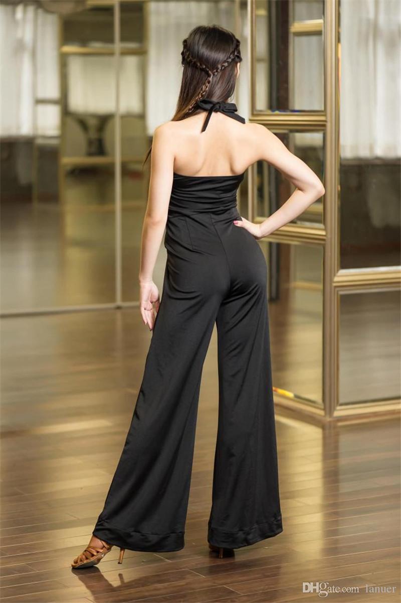 New BLACK Latin Dance Pants Adult Sexy backless costume ballroom Tango Rumba Samba Sasa competition Latin training pants suit