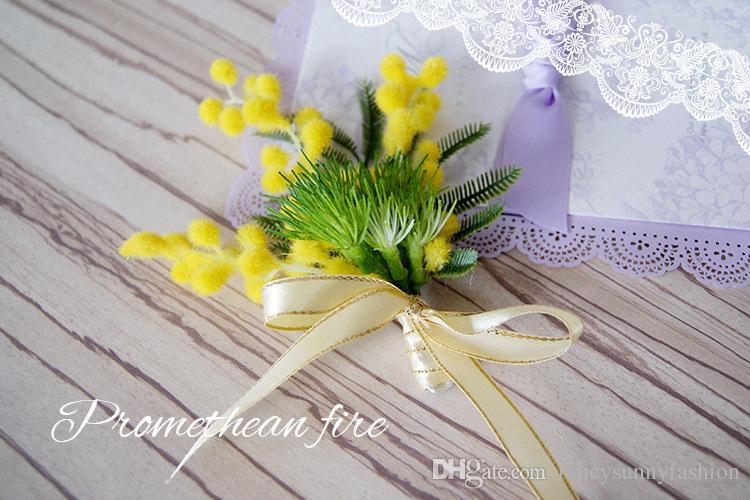 fiore spilla acacia spilla artificiale verde giallo corpetto fiore all'occhiello il migliore uomo abito da sposa accessori sposi groomsmen spille