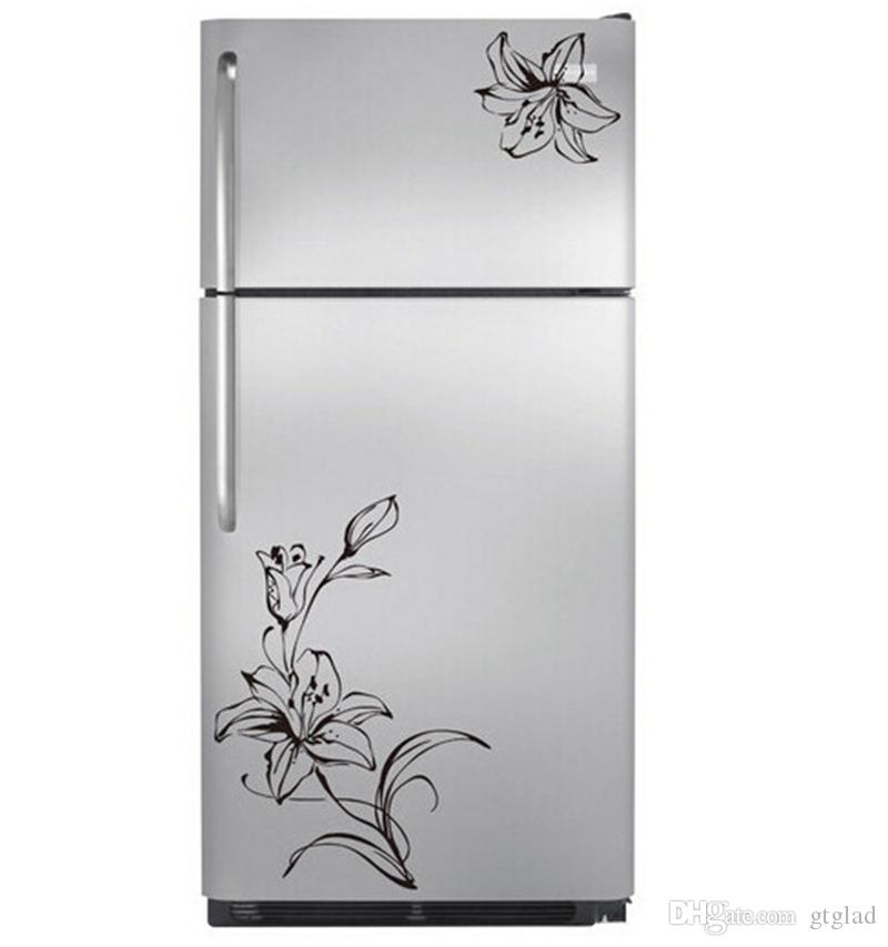 refrigerator decals. lily flower stickers fridge magnets wall beautiful decal kitchen refrigerator home decor single-piece package uk decals y