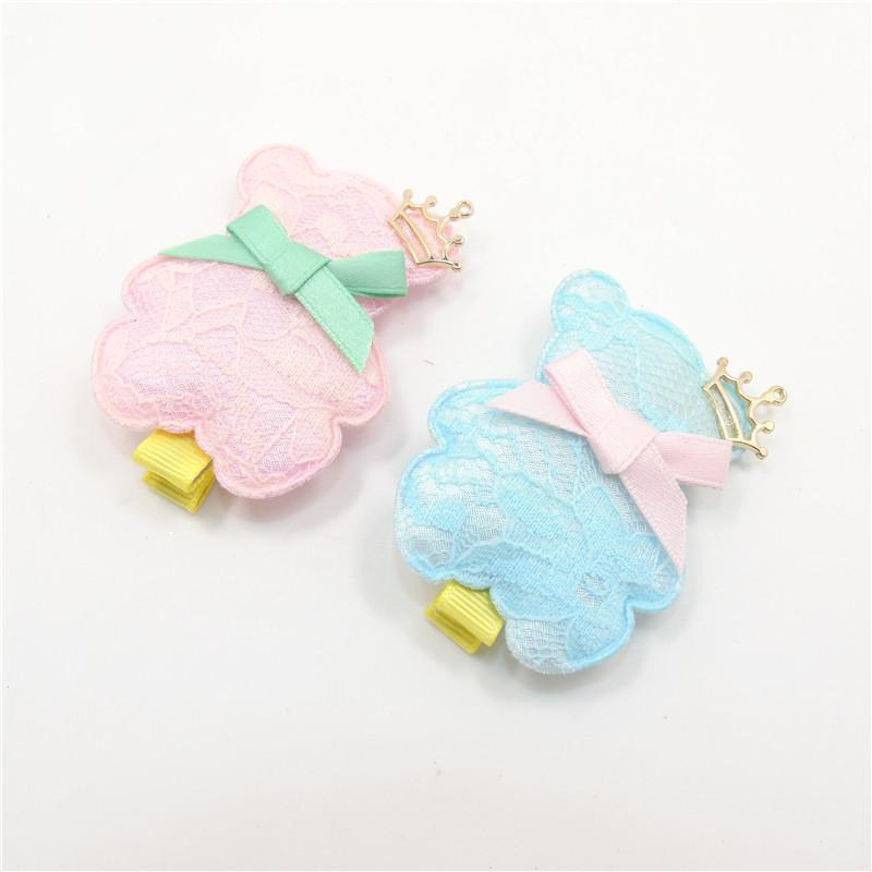 10pcs/lot Novelty Pink Blue Lace Cover Puffy Barrettes Cute Fashion Teddy Crown Bear Hair Clips Girl Pretty Hair Grip Hairpin