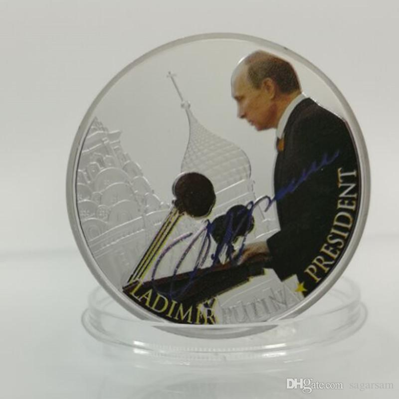 Brand new vladimir putin the president of Russia silver Plated 40 mm x 3 mm Russian souvenir coin
