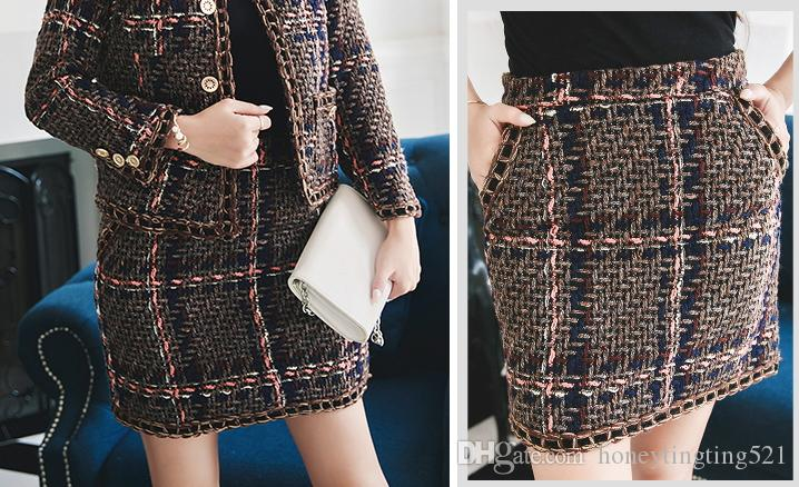 Autumn New design women's o-neck tweed woolen plaid grid weave chain patchwork long sleeve coat and short pencil skirt twinset OL suit SMLXL