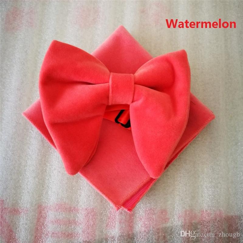 الأزياء البطيخ المخملية بووتيس مع مطابقة hankie رجل فريد سهرة المخملية ربطة العنق Hankie طقم ربطة العنق