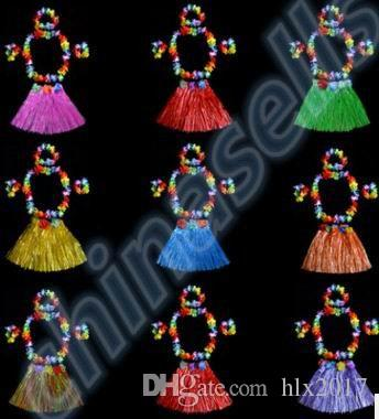 Plastic Fibers Women Grass Performance Skirts Hawaiian Hula Skirt set cheerleaders costumes Ladies Dress Up Stage Wear 40CM